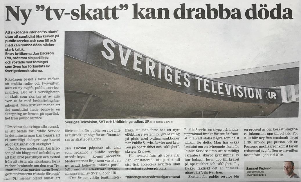 S krav om skatt pa tv reklam
