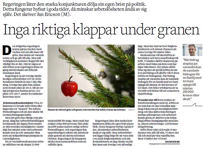 Jag startar det nya året med en debattartikel i Borås Tidning idag. Den  rödgröna tomten har svikit. 0a3de3e5f0f9d
