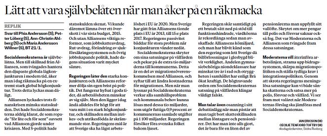 I dag har vi denna debattreplik till våra s-kolleger i Borås Tidning  569265fbd6545