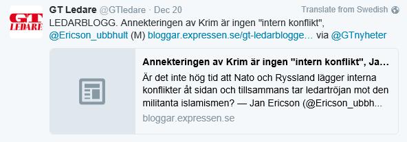 Min fråga är VAR jag skrev att ockupationen av Krim var en intern rysk  konflikt  Eller att jag på något sätt skulle vilja släta över ockupationen  av Krim  4e97a48239f4d